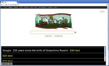 The Main Google page with the Focus frame on the search box and the Magnifier tool at the bottom of the screen