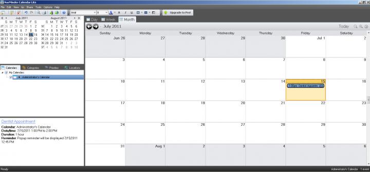 VueMinder Calendar Lite - Main Window