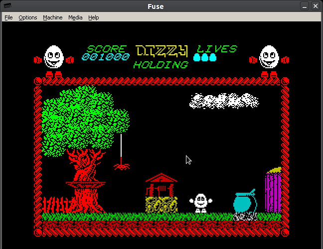 The very first screen of the very first Dizzy game