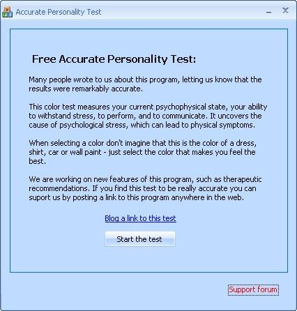 Accurate Personality Test welcome screen