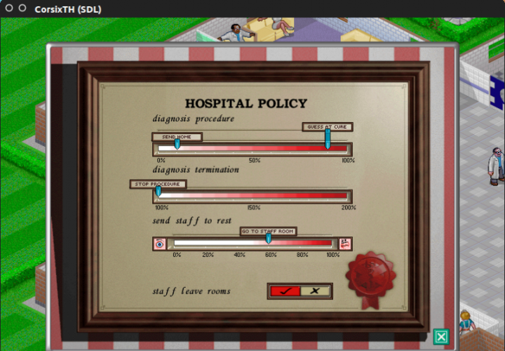 Theme Hospital: Policy Chart