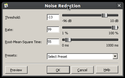 Noise reduction as seen in Free Audio Editor