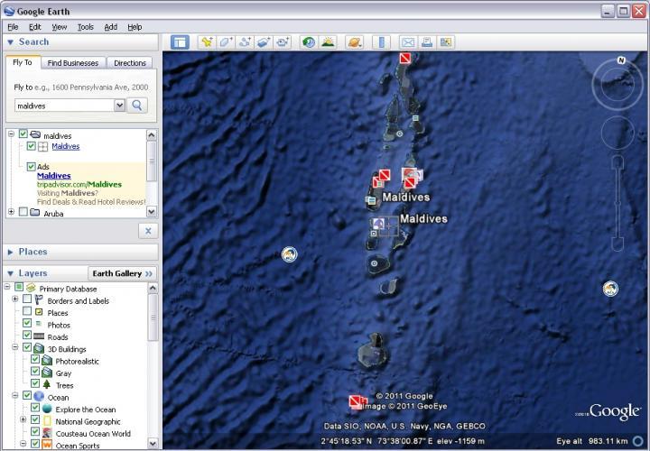 Google Earth Main window