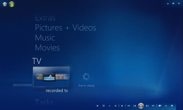 Windows Media Center Main Menu