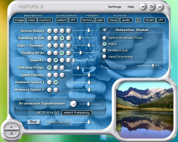 """Natura Sound Therapy"" Main Interface"