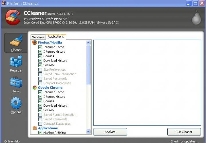 CCleaner: Cleaner Interface