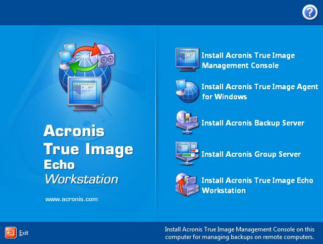 Acronis True Image Welcome Screen