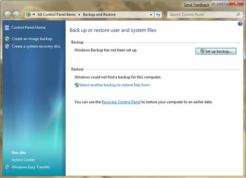 Microsoft Windows 7's Backup and Restore Tool