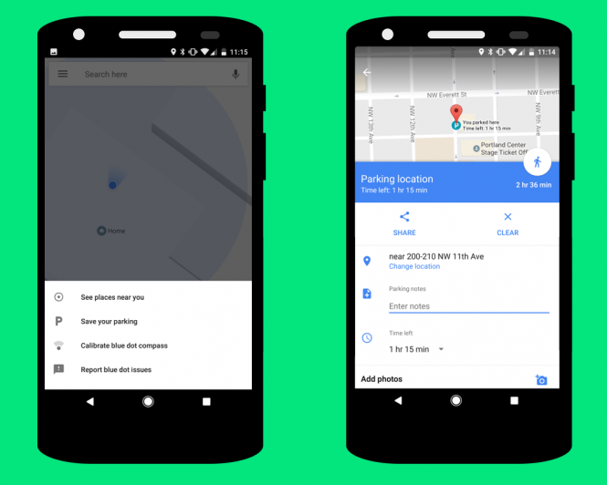 With a time limit setting Googles parking saver can beat Apple Maps