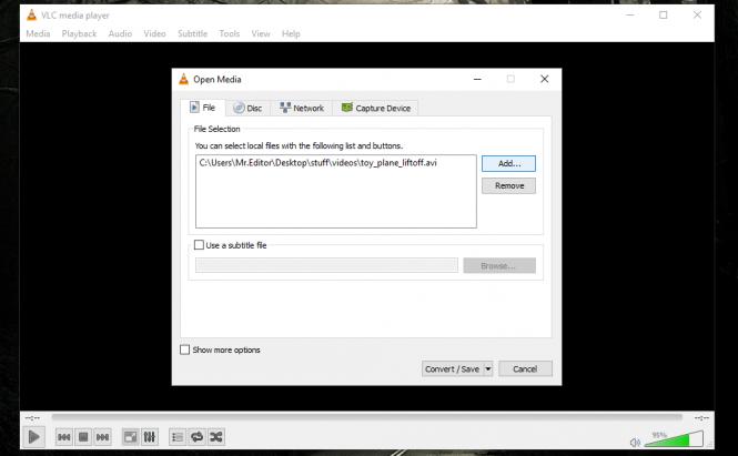 VLC Conversion Menu