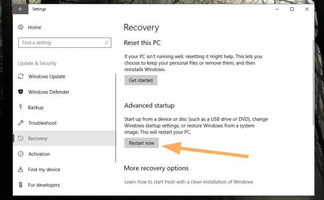 The Settings Recovery Page