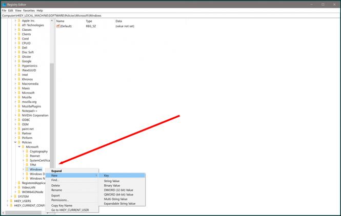 Editing the Windows 10 registry