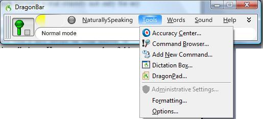 Dragon NaturallySpeaking Bar