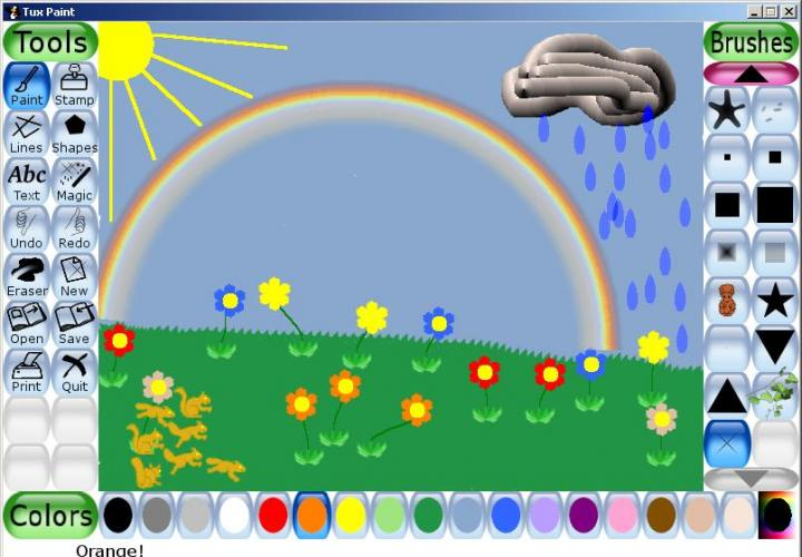 """A simple picture, drawn by my child in about 5 minutes with the help of """"magic"""" effects and unusual brush types like """"flower"""" and """"squirrel""""."""