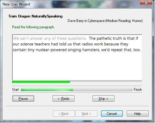 Training Dragon NaturallySpeaking